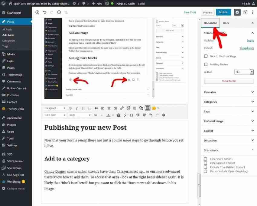 Spain Web Design and more by Gandy-Draper | How to add a new post in Wordpress 5